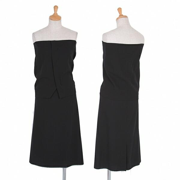 ヨウジヤマモトファムYohji Yamamoto FEMME ウールギャバビスチェ&スカート 黒XS