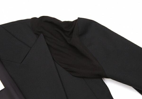 新品!ヨウジヤマモト ファムYohji Yamamoto FEMME 袖切替ウールギャバロングコート 黒1