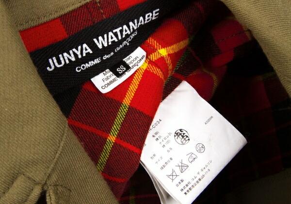 ジュンヤワタナベコムデギャルソンJUNYA WATANABE COMME des GARCONS 裏タータンチェック裁ち切替デザインコート 薄カーキ赤黒黄他SS