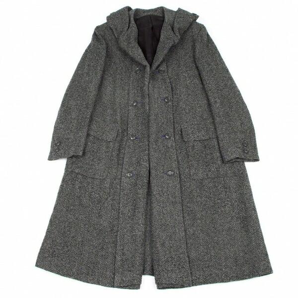 ヨウジヤマモトプールオムYohji Yamamoto POUR HOMME リネンウールフーデッドコート 霜降りグレー1