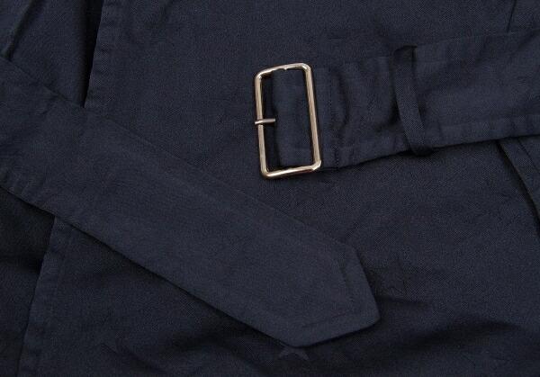 コムコム コムデギャルソンCOMME des GARCONS ポリ製品染め星ジャガードトレンチコート 濃紺M