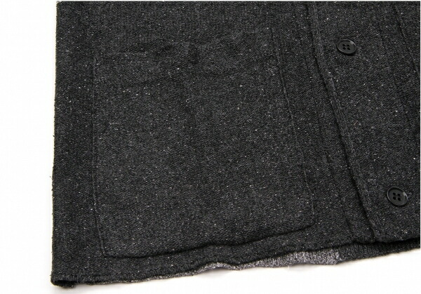 ヨウジヤマモトプールオムYohji Yamamoto POUR HOMME パッチワーク織りデザインカーディガン 濃淡グレー茶黒3