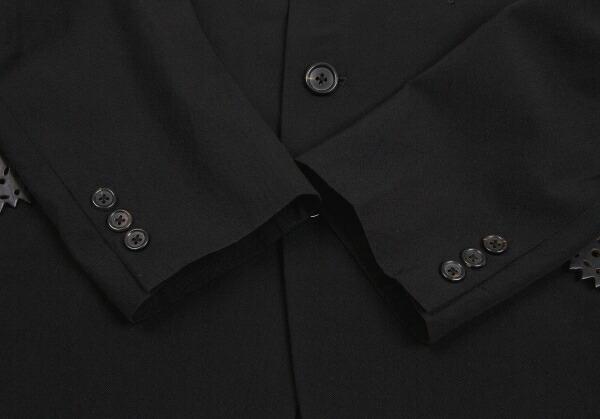 ヨウジヤマモトプールオムYohji Yamamoto POUR HOMME レザーフラップウールギャバジャケット 黒S
