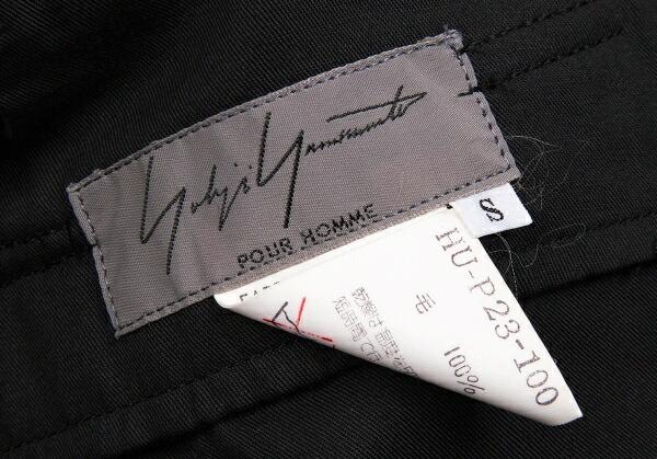 ヨウジヤマモトプールオムYohji Yamamoto POUR HOMME ウールギャバテーパードパンツ 黒S