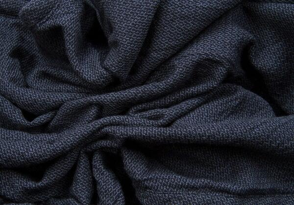 コムコム コムデギャルソンCOMME des GARCONS ジャガードボタンレスポンチョジャケット 紺黒M