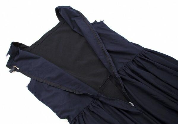 コムコム コムデギャルソンCOMME des GARCONS ジップ切替デザインワンピース 黒紺M