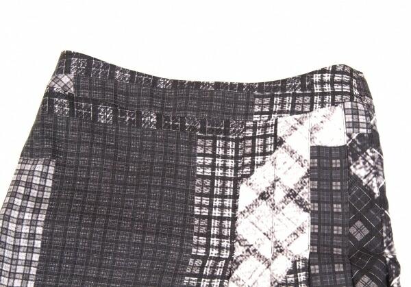 新品!ヨウジヤマモトプールオムYohji Yamamoto pour homme 阪急メンズ限定パッチワーク柄プリントウールギャバプリーツスカート 黒グレー2