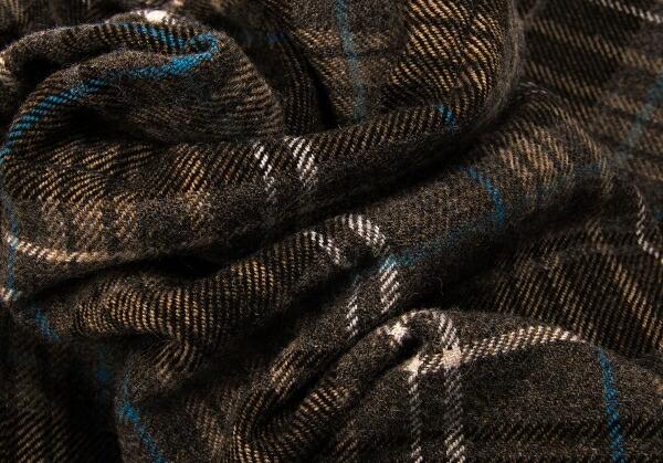 ヨウジヤマモトプールオムYohji Yamamoto POUR HOMME 裾リブレイヤードウールチェックパンツ ブラウン青オフ他4