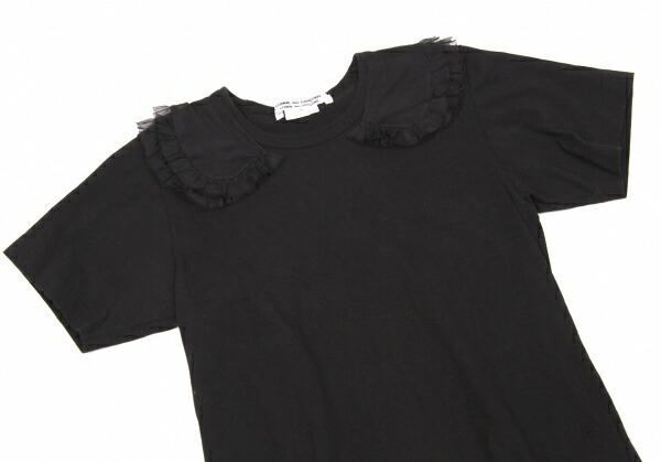 コムコム コムデギャルソンCOMME des GARCONS シフォン襟付きTシャツ 黒S