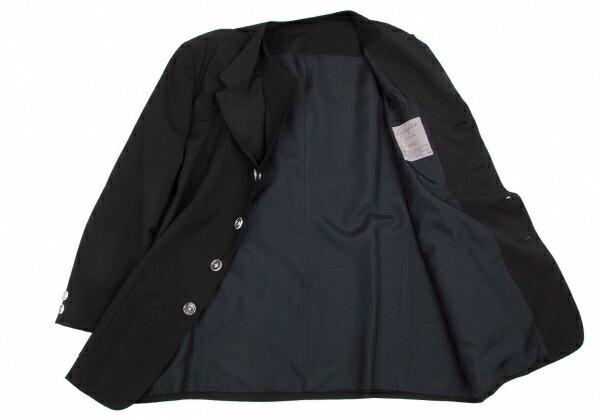 ヨウジヤマモトプールオムYohji Yamamoto POUR HOMME ウールダブルラペルクリアボタンジャケット 濃紺M