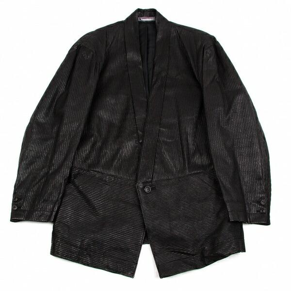 イッセイミヤケメンISSEY MIYAKE MEN ピッグスキン凹凸1Bジャケット 黒L