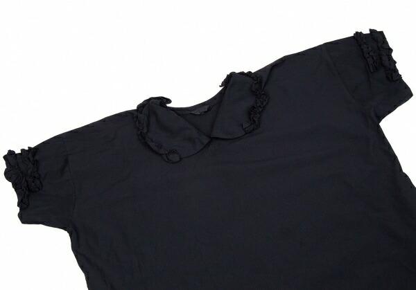 コムコム コムデギャルソンCOMME des GARCONS ポリ製品染めフリルワンピース 紺S