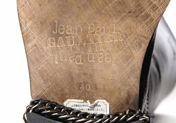 ジャンポールゴルチエJean Paul GAULTIER バックジップレザーロングブーツ 黒40(25位)