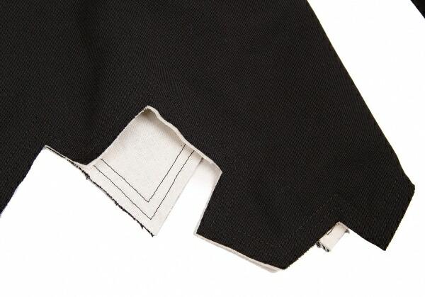 コムコム コムデギャルソンCOMME des GARCONS ウール裾断ち切りジャケット 黒生成りL