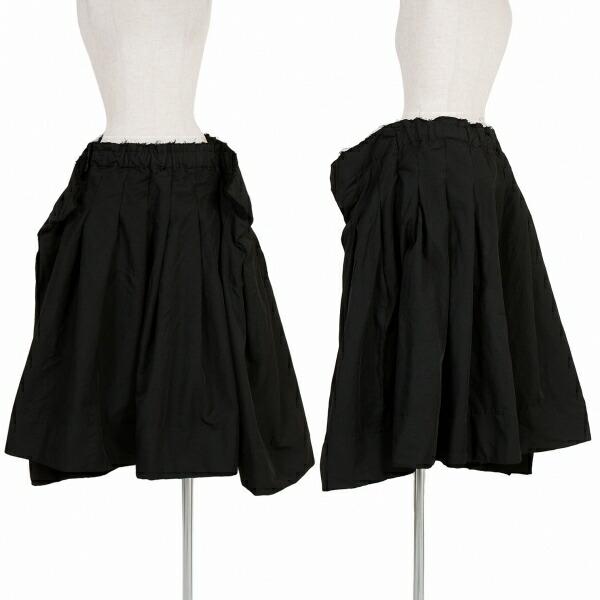 コムデギャルソンCOMME des GARCONS ポリ製品染めプリーツウエスト断ち切りスカート 黒M