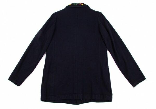 ヨウジヤマモト プールオムYohji Yamamoto POUR HOMME ウールサキソニーニット襟セットアップスーツ 紺紫緑黄黒2.3