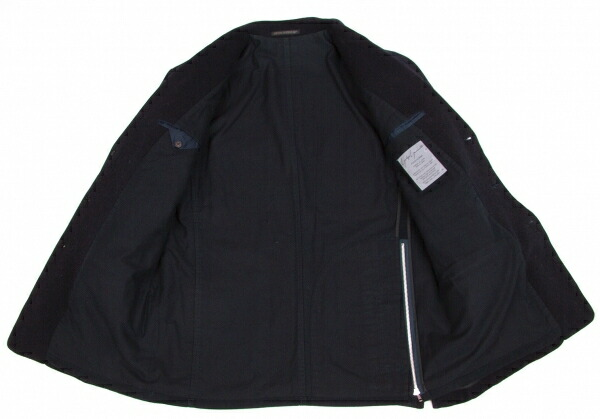 ヨウジヤマモト プールオムYohji Yamamoto POUR HOMME メルトンウールバックジップジャケット 紺S