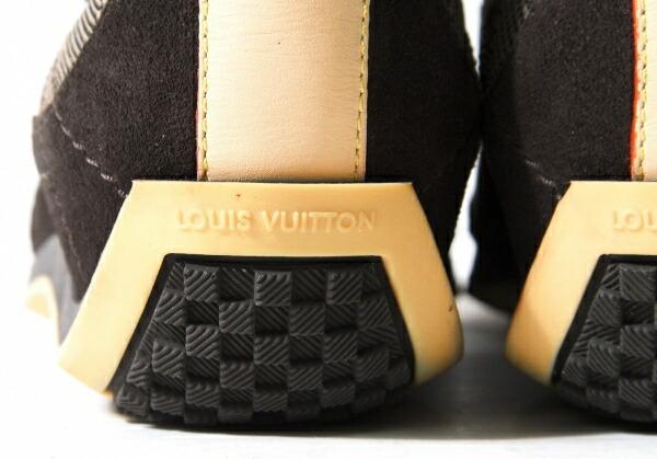 ルイヴィトンLouis Vuitton ダミエスウェード切替スニーカー ブラウン37.5(23.5位)