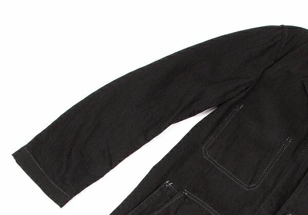 ヨウジヤマモト プールオムYohji Yamamoto POUR HOMME  コットンステッチデザインロングジャケット 黒白2