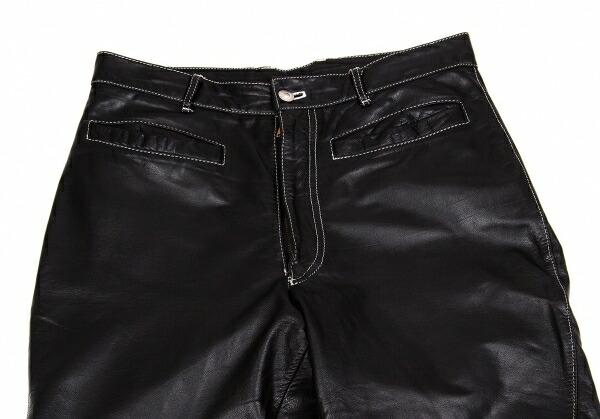 ジュニアゴルチエJUNIOR GAULTIER 裾ベルクロデザインレザーパンツ 黒48