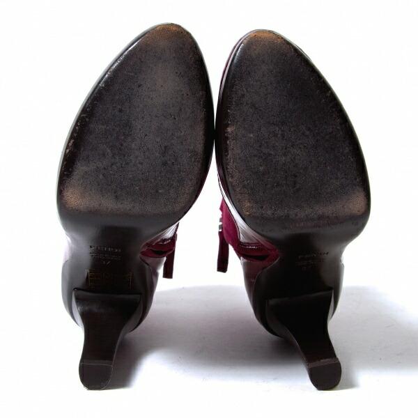 フェンディFENDI フェイクボタンスウェード切替ブーツ ワインレッド37(23.5位)