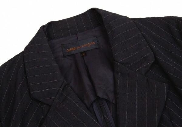 コムデギャルソンCOMME des GARCONS 切替デザインウールストライプロングジャケット 紺S