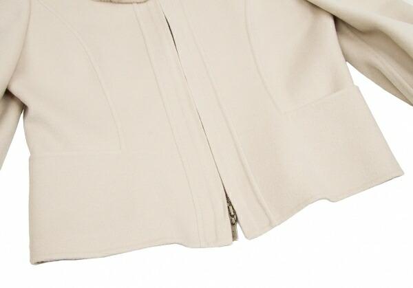 フォクシーブティック FOXEY BOUTIQUE  ヌートリアファー衿脱着カシミヤジップセットアップスーツ ベージュ40