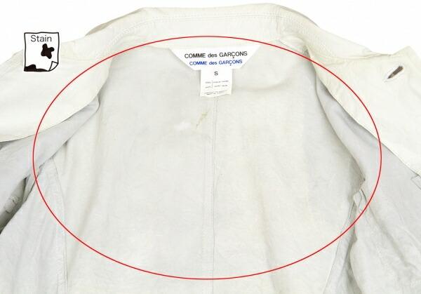 コムコム コムデギャルソンCOMME des GARCONS COMME des GARCONS ドットポケットレザージャケット 淡ブルーグレー黒S