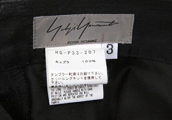 ヨウジヤマモト プールオムYohji Yamamoto POUR HOMME キュプラ雨プリント2タックサルエルパンツ 黒3