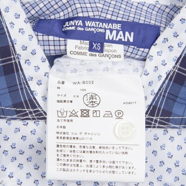 新品!ジュンヤワタナベマン コムデギャルソンJUNYA WATANABE MAN COMME des GARCONS 切替花柄ドビーシャツ 白青XS