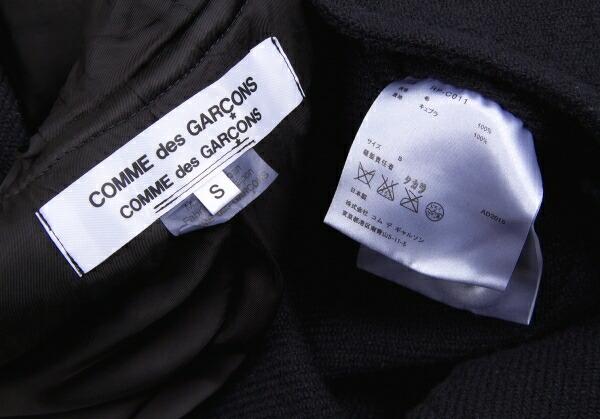 コムコム コムデギャルソンCOMME des GARCONS ウールフードコート 濃紺S