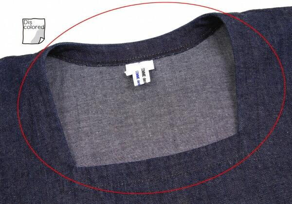 コムコム コムデギャルソンCOMME des GARCONS 袖切り替えデニムワンピース インディゴ紺白S