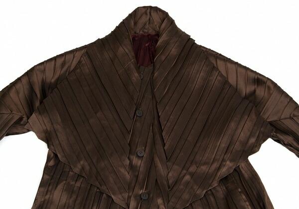 イッセイミヤケISSEY MIYAKE バイカラープリーツボタンデザインロングジャケット 茶エンジ2