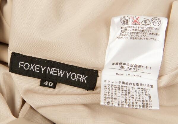 フォクシーニューヨーク FOXEY NEW YORK プリーツスカート切替ポリストレッチノースリーブワンピース ベージュ40