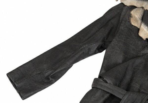 イッセイミヤケISSEY MIYAKE カッティングデザインシープスキンコート 黒ベージュ2