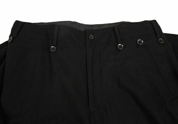 ヨウジヤマモト プールオムYohji Yamamoto POUR HOMME ニットドッキングサイド裁ち切りハンドステッチパンツ 黒2