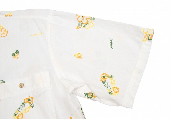 パパスPapas 花刺繍オックスフォードボタンダウン半袖シャツ 白M