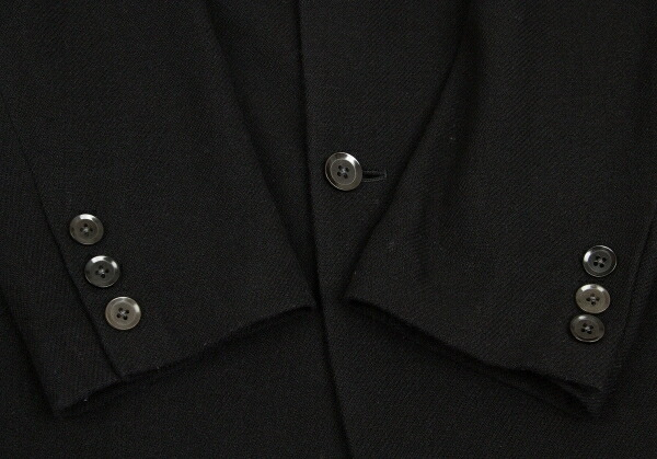 ヨウジヤマモト プールオムYohji Yamamoto POUR HOMME ウールサイドボタンジャケット 黒2