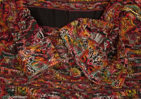 ヨウジヤマモト ファムYohji Yamamoto FEMME インドジャカード織りスタンドカラージャケット マルチ2