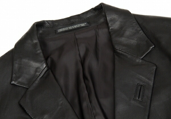 ヨウジヤマモト プールオムYohji Yamamoto POUR HOMME ラムレザー2Bテーラードジャケット 黒1