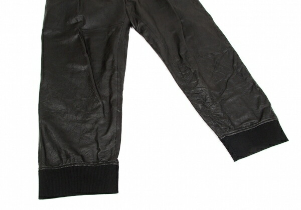 ヨウジヤマモト プールオムYohji Yamamoto POUR HOMME ラムレザー2B裾リブセットアップスーツ 黒1 ・2
