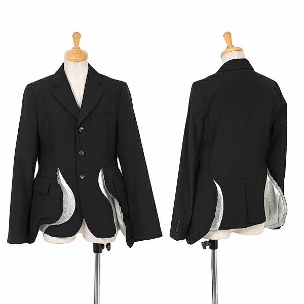 コムデギャルソンCOMME des GARCONS ウールギャバメタリックポケット切替デザインジャケット 黒XS