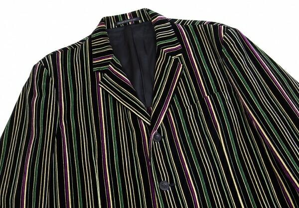 ヨウジヤマモト プールオムYohji Yamamoto POUR HOMME マルチカラーストライプベロアセットアップスーツ 黒黄緑紫M