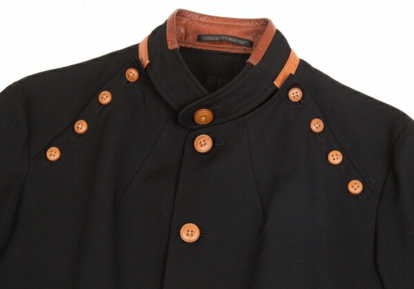 ヨウジヤマモト プールオムYohji Yamamoto POUR HOMME ウールギャバレザーパイピングボタンオープンデザインジャケット 黒2