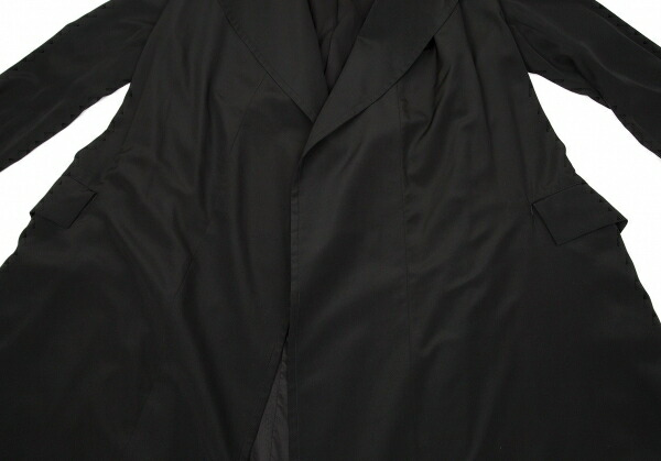 ヨウジヤマモト ファムYohji Yamamoto FEMME ポリエステルボタンレストレンチコート 黒M
