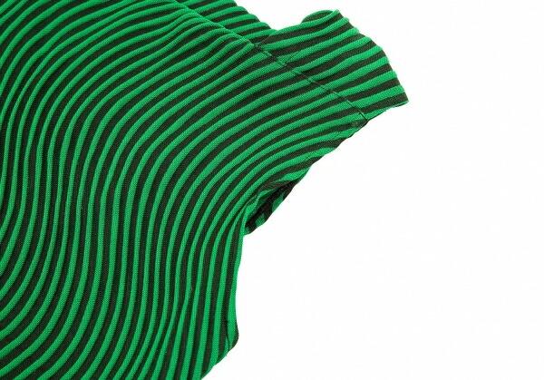 イッセイミヤケISSEY MIYAKE 波プリーツノースリーブワンピース グリーン黒2