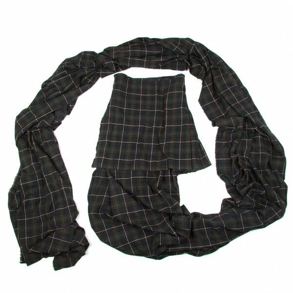 ヨウジヤマモト プールオムYohji Yamamoto POUR HOMME 混紡ウールスーパーロングストールデザインラップスカート 紺緑3