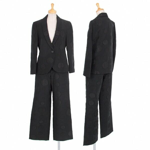 イッセイミヤケISSEY MIYAKE 混紡ショールカラードットセットアップスーツ 黒2