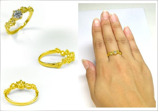 婚約指輪・K18ゴールド・リング・ダイヤモンド・フラワー・エンゲージリング