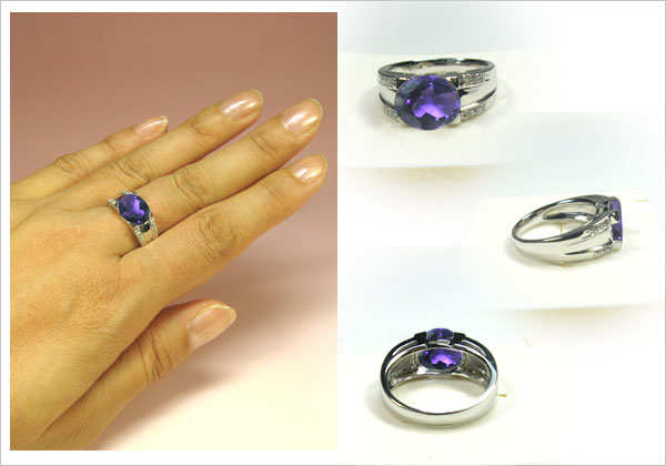 プラチナ900・アメシストリング・ダイヤモンド・指輪